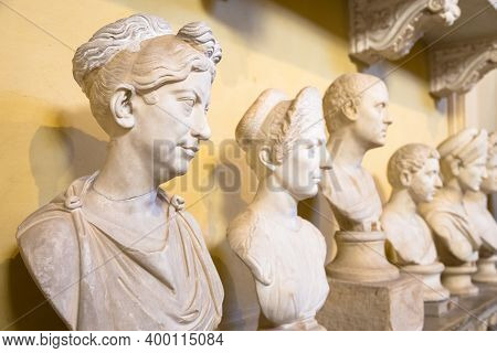 Rome, Vatican State - Circa August 2020: Classic Statues Perspective In Vatican Museum
