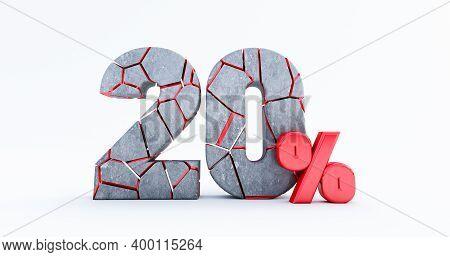 3d Render Of  Broken Twenty Percent (20%)  Isolated On White Background, 20 Twenty Percent Sale. Bla
