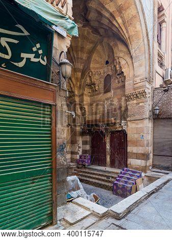 Cairo, Egypt- June 26 2020: Alleys Of Old Historic Mamluk Era Khan Al-khalili Famous Bazaar And Souq