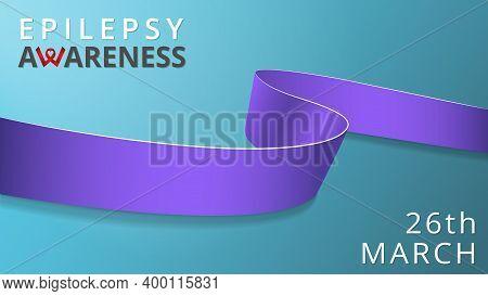 Realistic Lavender Ribbon. Awareness Epilepsy Month Poster. Vector Illustration. World Epilepsy Day