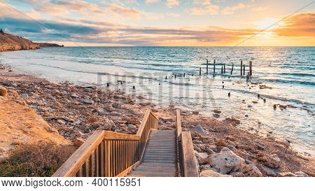 Port Willunga Beach View With Jetty Ruins At Sunset,  South Australia