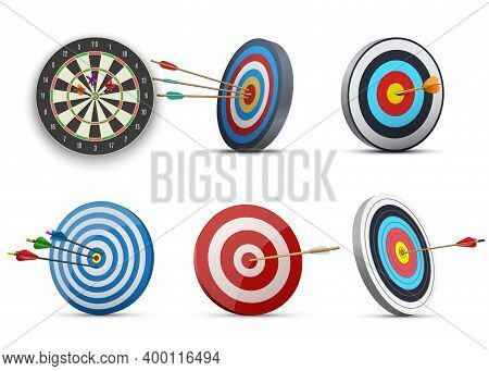 Darts Or Dart-throwing Boards With Arrows In And Around Center Realistic Set.