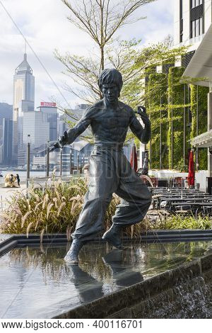 Hong Kong - November 2020 : The Bruce Lee Statue In Avenue Of Stars Attraction Near The Waterfront A