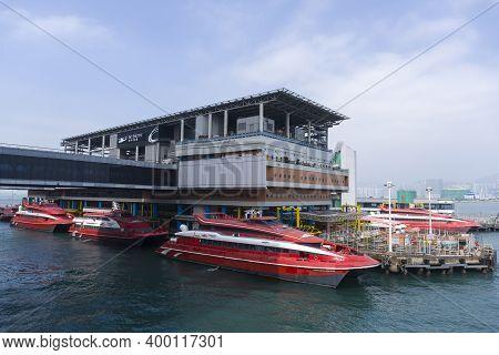 Hong Kong November 2020 : Turbojet In Hong Kong Macau Ferry Terminal At Victoria Habor. A Ferry Term
