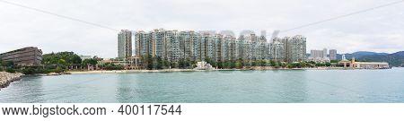 Hong Kong - November 15 2020 : Panorama Of Ma Wan Island, From Left To Right: Noah's Ark, Ma Wan Tun