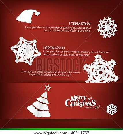 Merry Christmas greeting card with Christmas decoration, vector illustration.