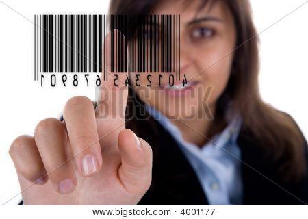 geschäftsfrau Pressen barcode