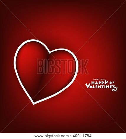 Valentine's day card with Heart Paper. Vector illustration.