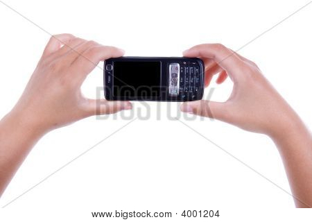 Woman Holding Mobile Phone Isolated On White Background