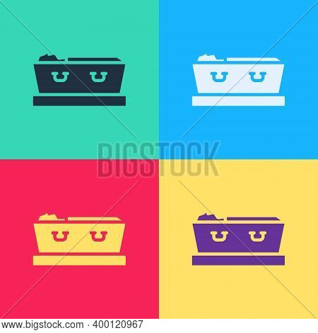 Pop Art Open Coffin With Dead Deceased Body Icon Isolated On Color Background. Funeral After Death.