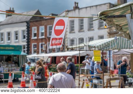Richmond, North Yorkshire, Uk - August 1, 2020: A No Entry Sign Ensuring A One Way System Is Impleme