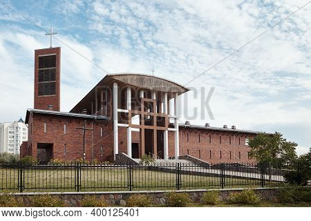 Grodno, Belarus - August 2015: Most Holy Redeemer Catholic Church Or Red Church Of Redemptorists In