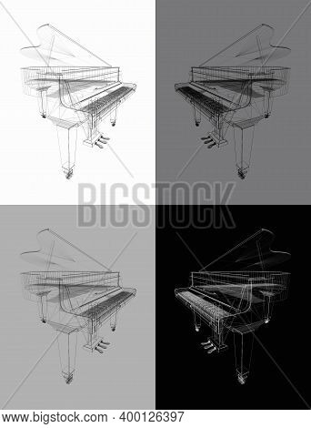 Classic Grand Piano. Outline Classic Grand Piano Isolated On White, Gray, Black  Background. Keyboar