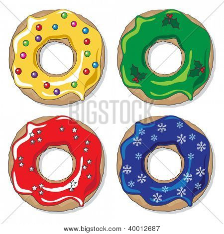 Christmas donuts in varying colourways with a variety of festive toppings. Also available in vector format.