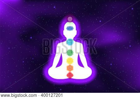 Meditation. Shining Chakras. Muladhara, Swadhisthana, Manipura, Anahata, Vishuddha, Ajna, Sahasrara.