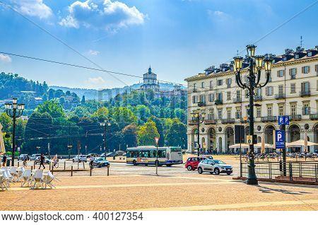 Turin, Italy, September 10, 2018: Piazza Vittorio Veneto Main Square Of Torino City, Street Lamp, Ol