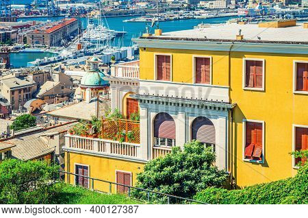 Genoa, Italy, September 11, 2018: Top Aerial View Of Genova City Old Historical Centre Quarter With