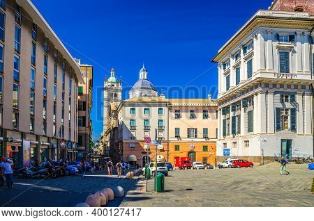 Genoa, Italy, September 11, 2018: Buildings With Colorful Walls In Piazza Giacomo Matteotti Square A
