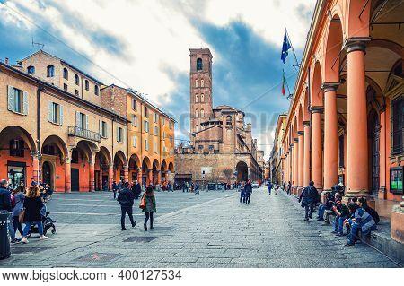 Bologna, Italy, March 17, 2019: Convento Padri Agostiniani Building, Columns Of Teatro Comunale Bolo