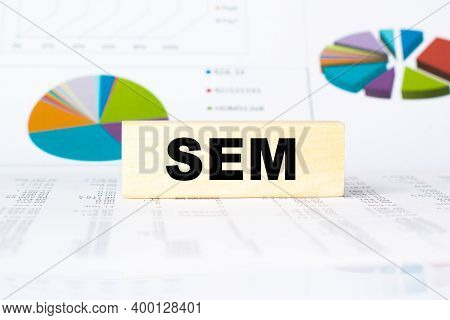 Word Sem. Wooden Small Cubes With Letters With Copy Space Available. Business Concept Image.