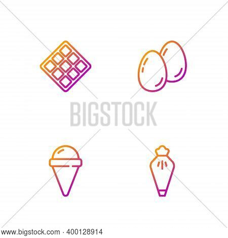 Set Line Pastry Bag, Ice Cream In Waffle Cone, Waffle And Easter Eggs. Gradient Color Icons. Vector