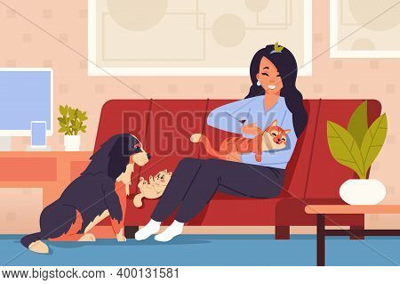 Woman At Home With Pets. Cartoon Girl Character Relaxing On Cozy Couch With Orange Striped Cat, Litt