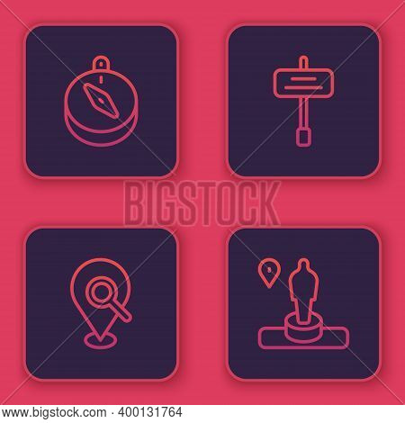 Set Line Compass, Search Location, Road Traffic Sign And Location And Monument. Blue Square Button.