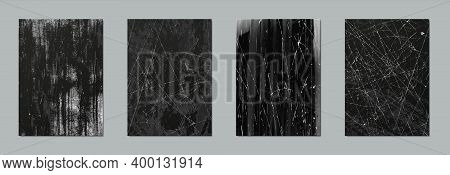 Scratch Texture. Realistic Grunge Elements With Battered Effect, Black Surface With Worn Paint And O