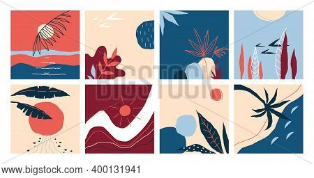 Doodle Banners. Abstract Hand Drawn Landscapes. Tropical Palm Leaves And Sunset Or Sunrise, Seashore