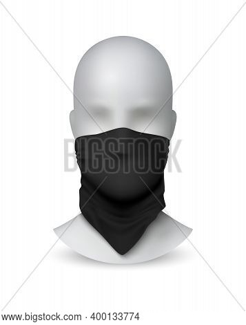 Black Buff On White Mannequin. Realistic Textile Scarf For Face Protection. 3d Kerchief On Dummy. Is