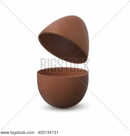 Chocolate Egg. Broken Realistic Eggshell With Two Halves, Traditional Easter Chicken Eggs Dessert, M