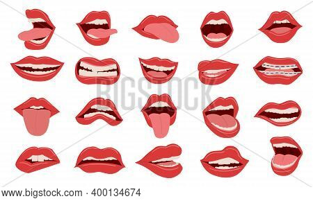Cartoon Mouth. Cute Female Red Opened And Closed Lips. Isolated Parts Of Human Face With White Teeth