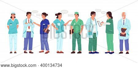 Nurse And Doctor. Cartoon Medical Workers With Speech Bubbles. Isolated Men And Women Talking. Emplo