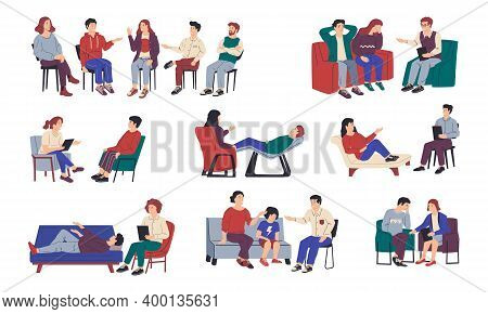 Psychology Therapy. Family And Individual Or Group Meeting With Psychologist. Isolated Cartoon Peopl