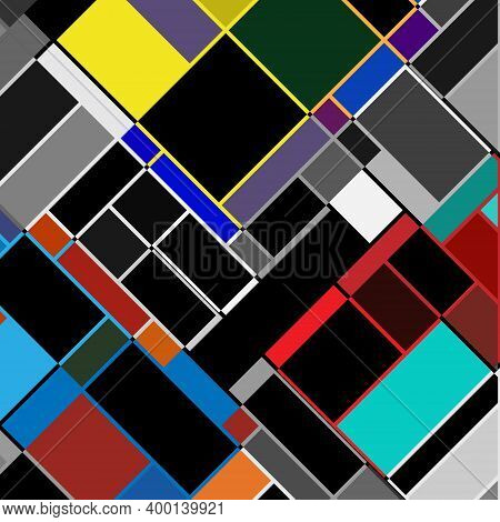 Square Vector Background In Countercomposition Style. The Illustration Is Based On Contemporary Art.