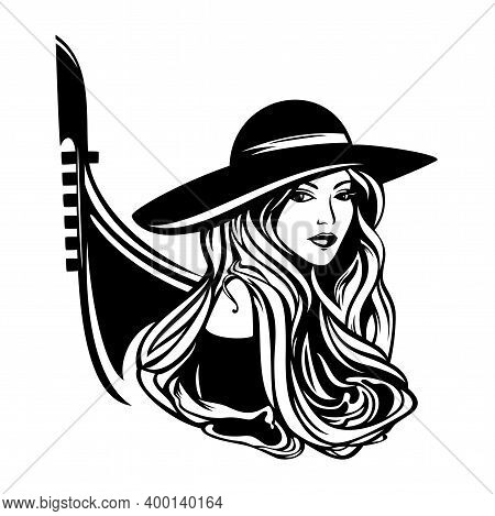 Italian Woman With Long Gorgeous Hair Wearing Wide Brim Hat With Gondola Boat Outline - Black And Wh