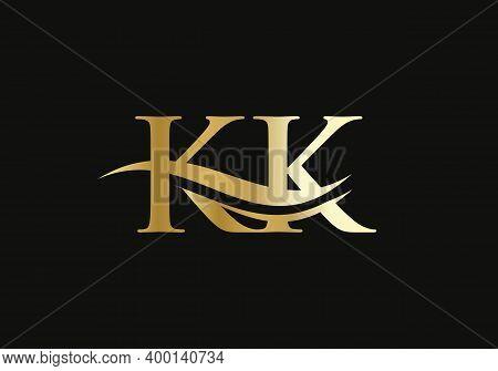 Initial Kk Logo Swoosh Design. Vector Kk Logo For Business And Company Identity