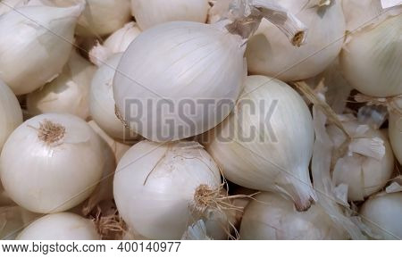 White Onion. Fresh White Onion As A Background. Close-up. Background. Onion Background. Ripe Onion.