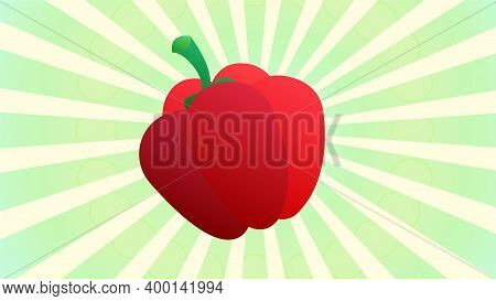 Sweet Pepper. Hand Drawn Vector Illustration With Sweet Pepper And Divergent Rays. Used For Poster,
