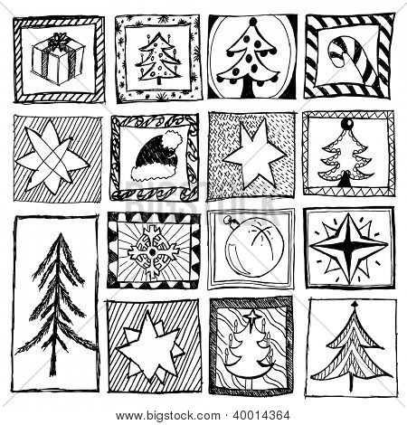 set of abstract hand drawn christmas designs
