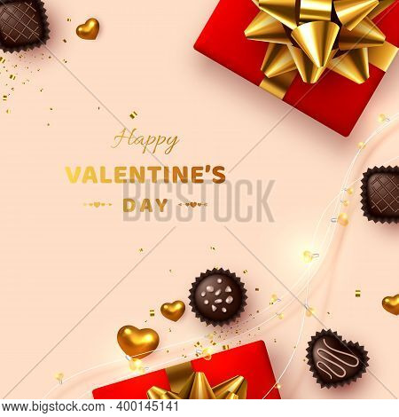 Happy Valentines Day Greeting Card. 3d Realistic Gift Box, Metal Hearts, Sweets And Lights Garland.