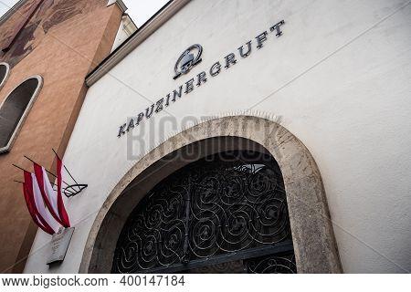 Vienna, Austria - Decembter 19 2020: Imperial Crypt, Also Called Kapuzinergruft Or Kaisergruft, Exte