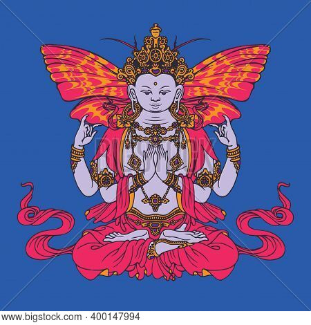 Banner With Hand-drawn Krishna On A Blue Background. Decorative Vector Illustration Of A Seated Kris