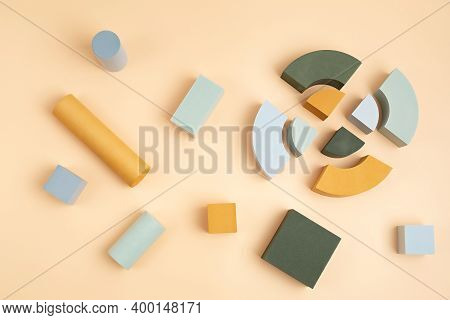 Abstact Flat Lay With Geometric Forms Over Beige Background. Minimal Scene For Product Presentation.