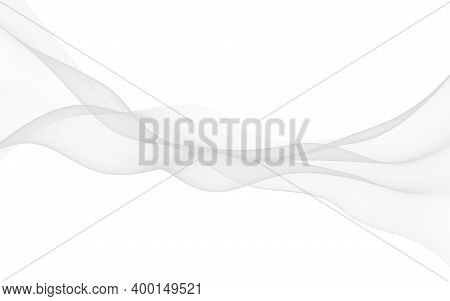 White Abstract Background. Fluttering White Scarf. Waving On Wind White Fabric. 3d Illustration