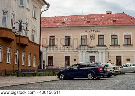 Kremnica, Slovakia - July 3, 2020: Historical Building Of Mincovna (mint) At The Stefanikovo Namesti