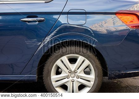 Ostrava, Czech Republic - October 15, 2019: Side View Of Scratches On A Rear Mudguard Of Peugeot 301