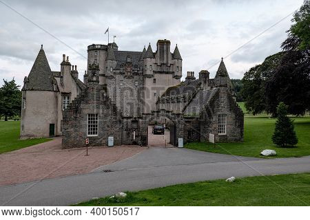Inverurie, Scotland - August 10, 2019: The Gate Of Ancient Castle Fraser In Sauchen, Inverurie, Scot
