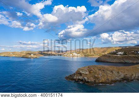 Kea Tzia Island, Cyclades, Greece. Aerial Drone Photo Of The Bay