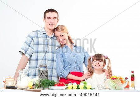 portrait of family cook together